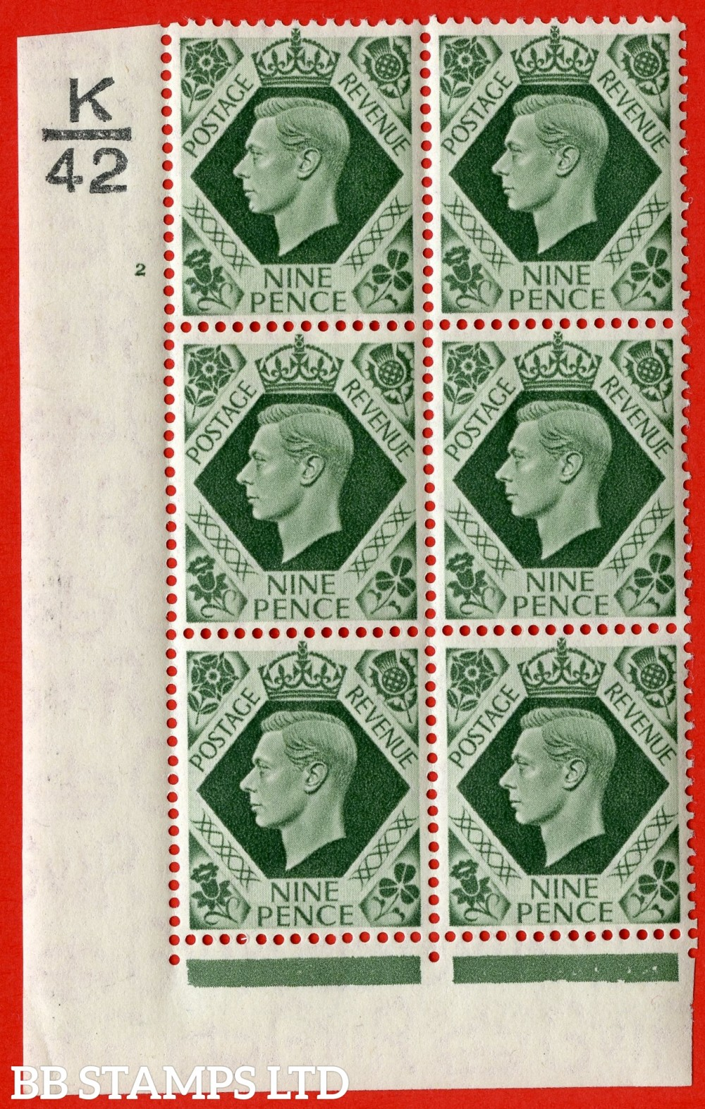 "SG. 473 b. Q25. 9d Olive-Green. A fine lightly mounted mint "" Control K42 cylinder 2 no dot "" control block of 6 with perf type 2 I/E with listed variety "" Serif touched out "" row 18/1."