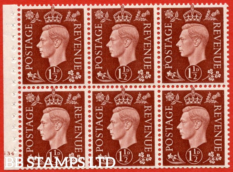 "SG. 464. QB21. 1½d Red - Brown.  A super UNMOUNTED MINT cylinder "" G34 no dot "" complete booklet pane with selvedge. Perf type B3 (I)."