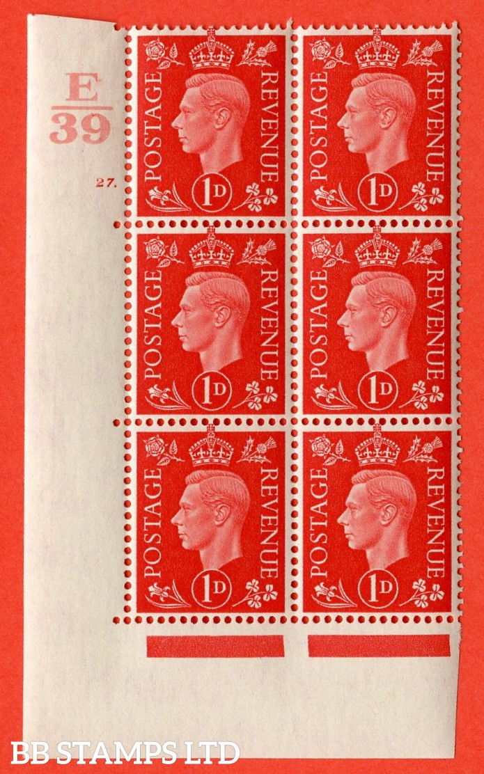 "SG. 463. Q4. 1d Scarlet. A very fine lightly mounted mint "" Control E39 cylinder 27 dot "" block of 6 with perf type 5 E/I with marginal rule."