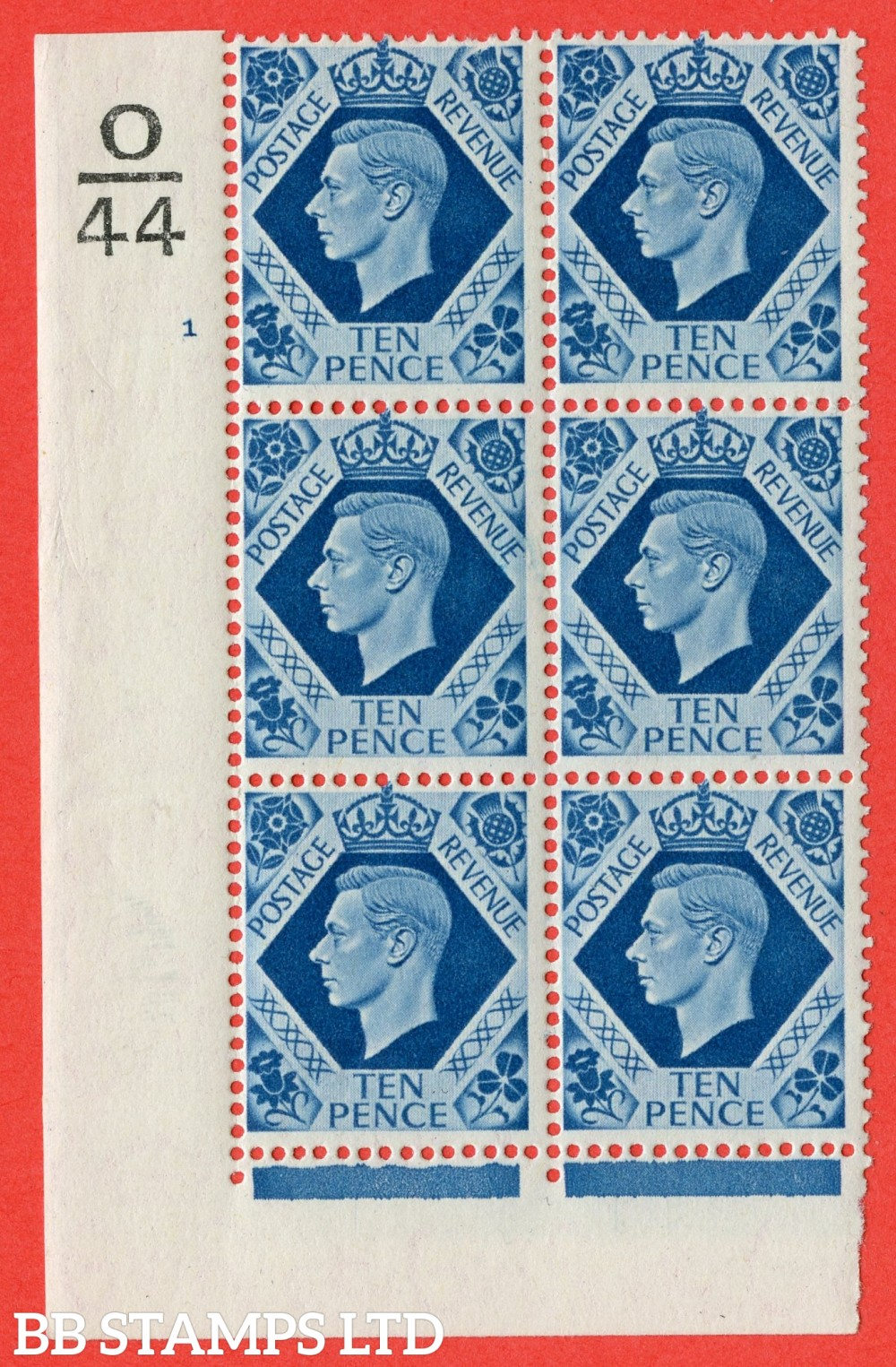 "SG. 474. Q26. 10d Turquoise-Blue. A superb UNMOUNTED MINT "" Control  O44 cylinder 1 no dot "" control block of 6 with perf type 2 I/E."