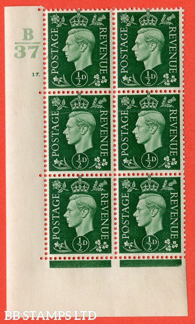 "SG. 462. Q1. ½d Green. A superb UNMOUNTED MINT "" Control B37 cylinder 17 dot "" block of 6 with perf type 5 E/I with marginal rule. Creased."