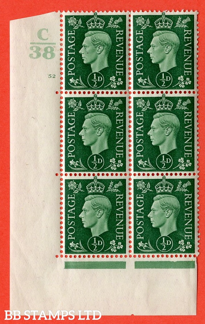 "SG. 462. Q1. ½d Green. A very fine lightly mounted mint "" Control C38 cylinder 52 no dot "" block of 6 with perf type 5 E/I with marginal rule."