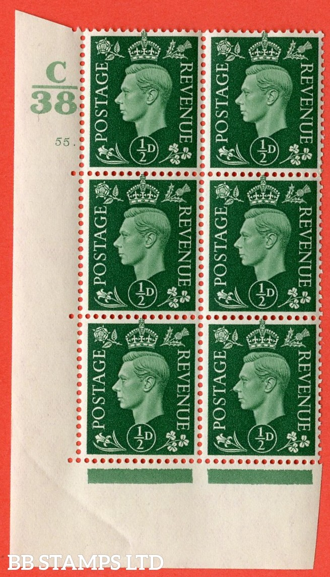 "SG. 462. Q1. ½d Green. A superb UNMOUNTED MINT "" Control C38 cylinder 55 dot "" block of 6 with perf type 5 E/I with marginal rule. Creased in margin."