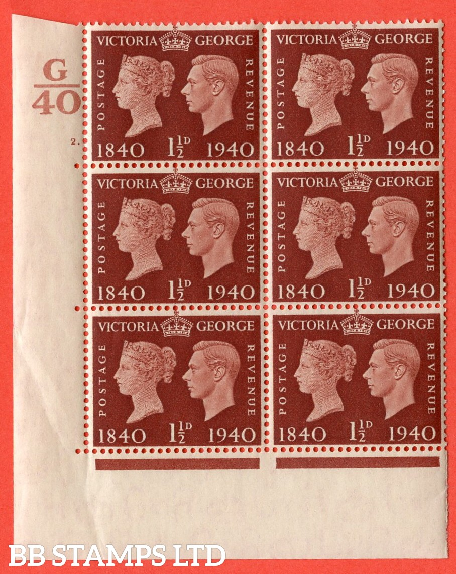 """SG. 481. QCom4. 1½d Red-Brown. A superb UNMOUNTED MINT """" Control G40 cylinder 2 dot """" block of 6 with perf type 5 E/I"""