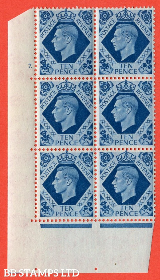 """SG. 474. Q26. 10d Turquoise-Blue. A superb UNMOUNTED MINT """" No Control cylinder 7 dot """" control block of 6 with perf type 5 E/I."""