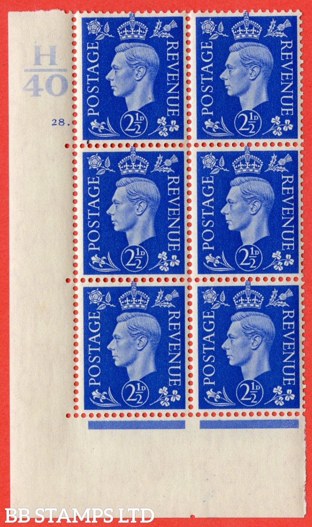 """SG. 466. Q13. 2½d Ultramarine.  A very fine lightly mounted mint """" Control H40 cylinder 28 dot """" control block of 6 with perf type 5 E/I with marginal rule."""