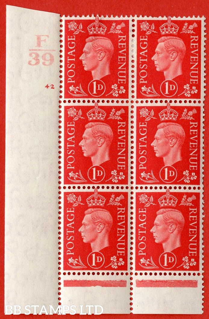 "SG. 463. Q4. 1d Scarlet. A very fine lightly mounted mint "" Control F39 cylinder 42 no dot "" block of 6 with perf type 6 I/P with marginal rule."