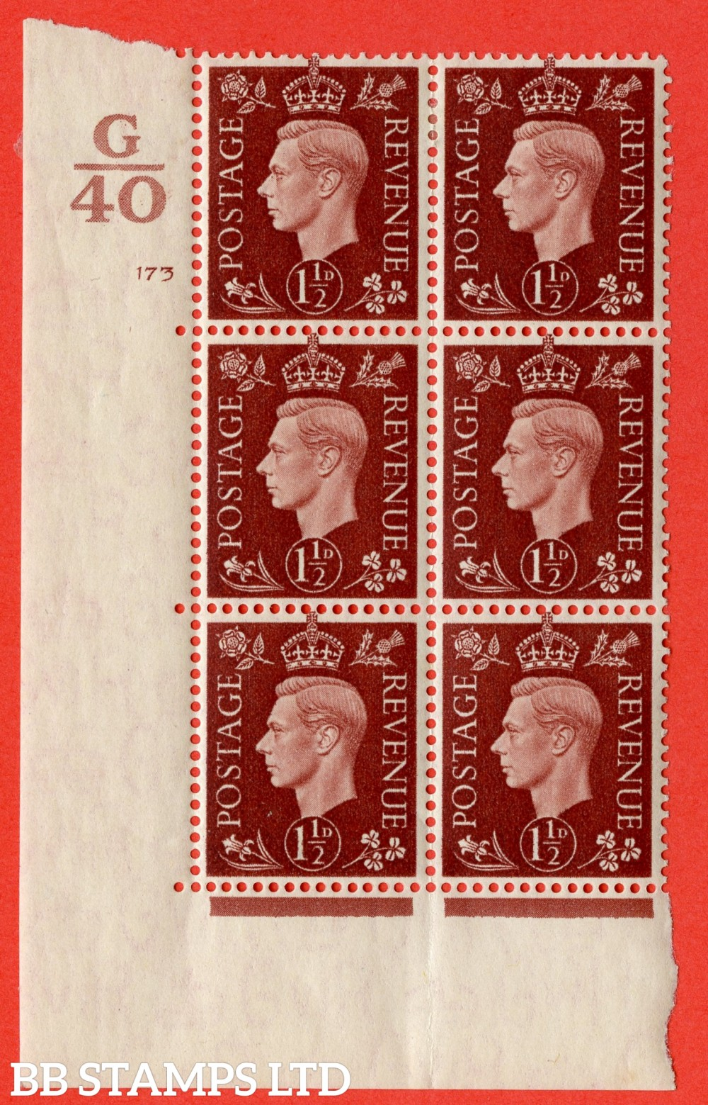 "SG. 464. Q7. 1½d Red-Brown. A very fine lightly mounted mint "" Control G40 cylinder 173 no dot "" block of 6 with perf type 5 E/I with marginal rule."