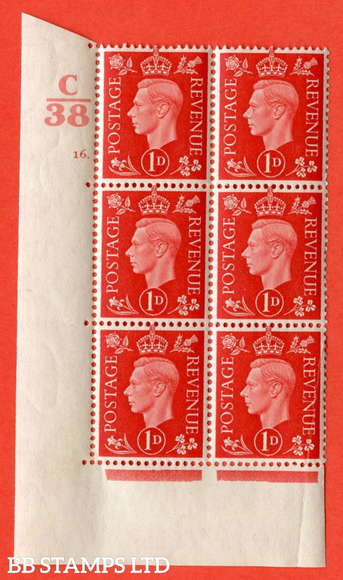 "SG. 463. Q4. 1d Scarlet. A superb UNMOUNTED MINT "" Control C38 cylinder 16 dot "" block of 6 with perf type 5 E/I with marginal rule. Crease bottom right."