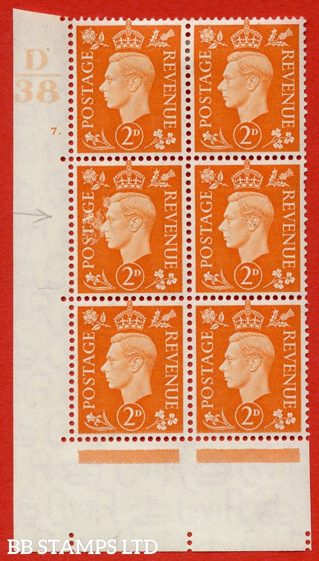 "SG. 465. Q10. 2d Orange. A very fine lightly mounted mint "" Control D38 cylinder 7 dot "" control block of 6 with perf type 5 E/I."