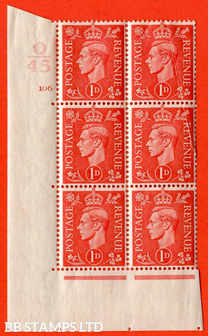 "SG. 486. Q5. 1d Pale scarlet. A superb UNMOUNTED MINT ""  Control Q45 cylinder 106 no dot "" control block of 6 with perf type 5 E/I. Crease top right."