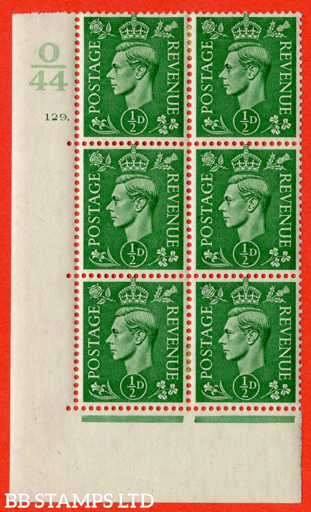 "SG. 485. Q2. ½d Pale Green. A very fine lightly mounted mint "" Control O44 cylinder 129 dot "" block of 6 with perf type 5 E/I with marginal rule."