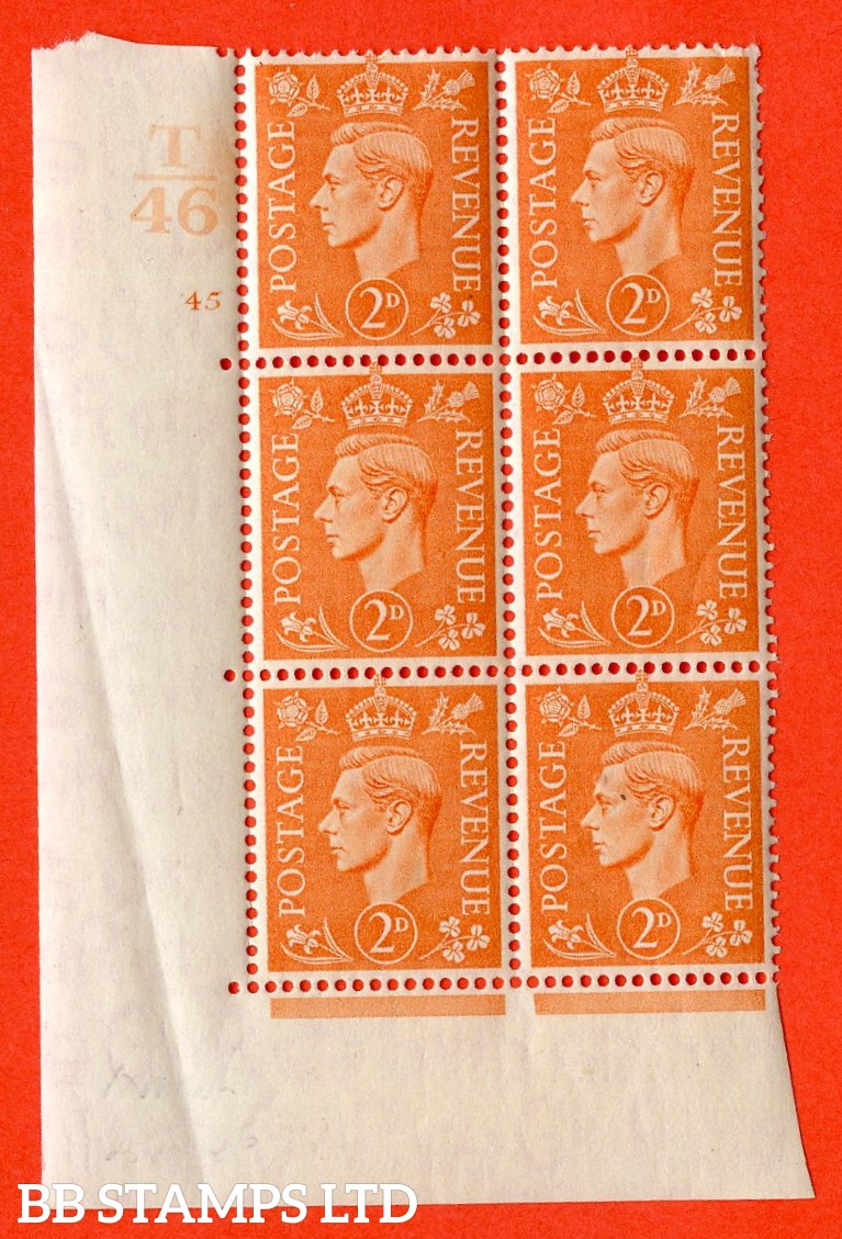 """SG. 488. Q11. 2d Pale Orange. A superb UNMOUNTED MINT """" Control T46 cylinder 45 no dot """" control block of 6 with perf type 5 E/I."""