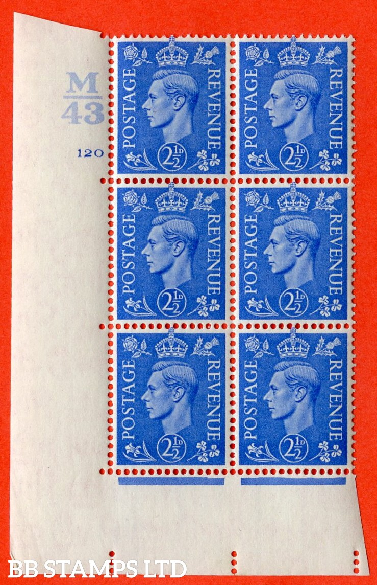 """SG. 489. Q14. 2½d Light ultramarine. A very fine lightly mounted mint """"  Control M43 cylinder 120 no dot """" control block of 6 with perf type 5 E/I."""