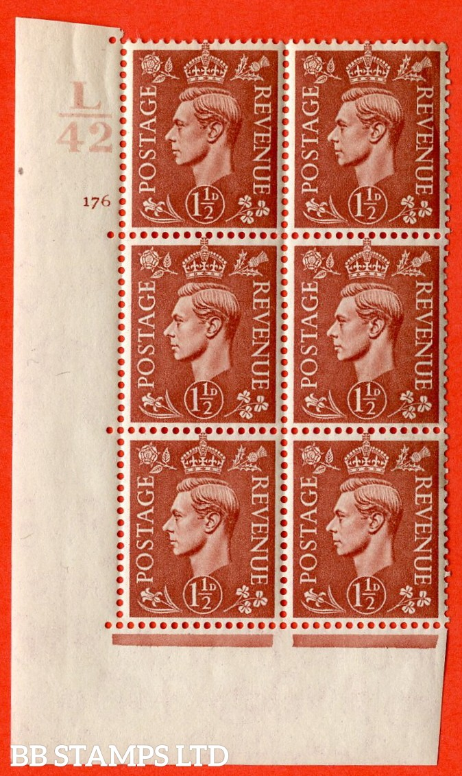 "SG. 487. Q8. 1½d Pale Red-Brown. A superb UNMOUNTED MINT ""  Control L42 cylinder 176 no dot "" control block of 6 with perf type 5 E/I. with marginal rule."