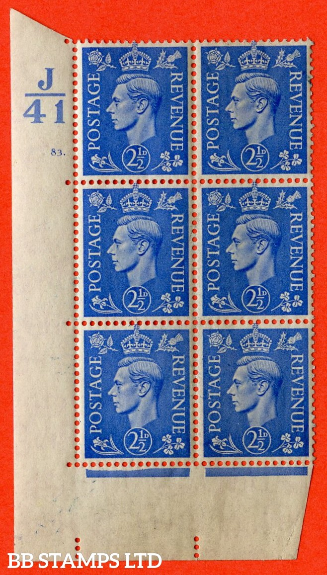 "SG. 489. Q14. 2½d Light ultramarine. A  superb UNMOUNTED MINT "" Control J41 cylinder 83 dot "" control block of 6 with perf type 5 E/I."