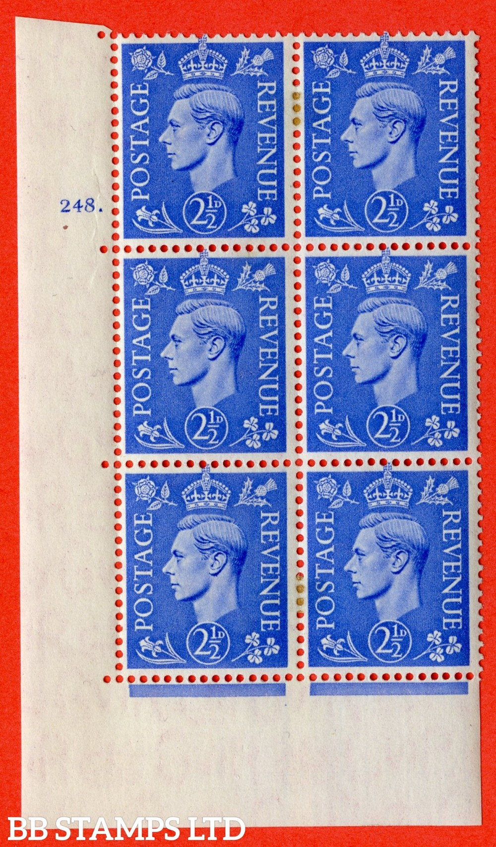 """SG. 489. Q14. 2½d Light ultramarine. A very fine lightly mounted mint """"  No Control cylinder 248 dot """" control block of 6 with perf type 5 E/I."""