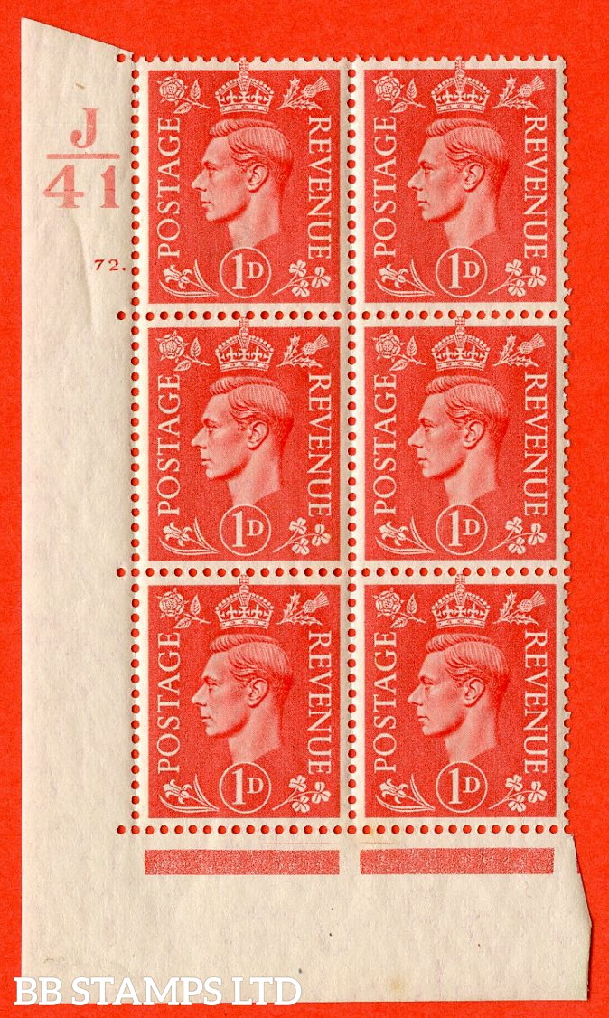 """SG. 486. Q5. 1d Pale scarlet. A superb UNMOUNTED MINT """"  Control J41 cylinder 72 dot """" control block of 6 with perf type 5 E/I."""