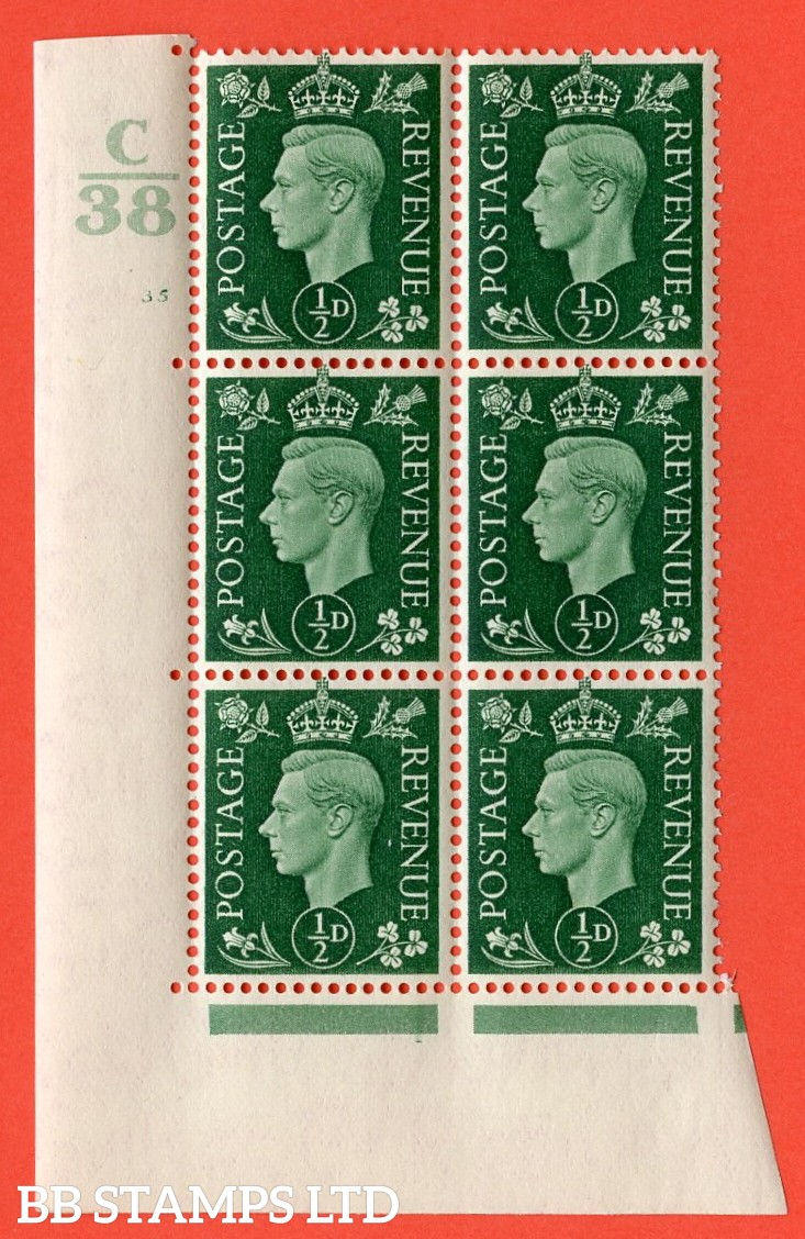 "SG. 462. Q1. ½d Green. A superb UNMOUNTED MINT "" Control C38 cylinder 35 no dot "" block of 6 with perf type 5 E/I with marginal rule."