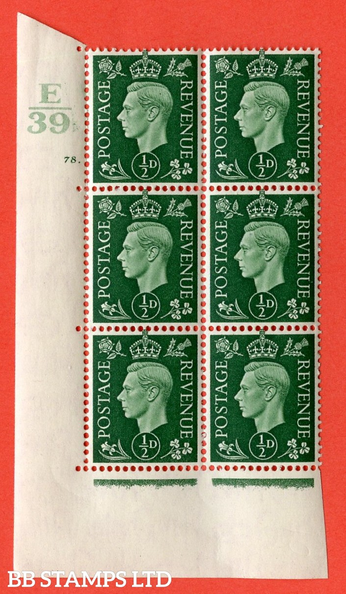 "SG. 462. Q1. ½d Green. A superb UNMOUNTED MINT "" Control E39 cylinder 78 dot "" block of 6 with perf type 5 E/I with marginal rule."