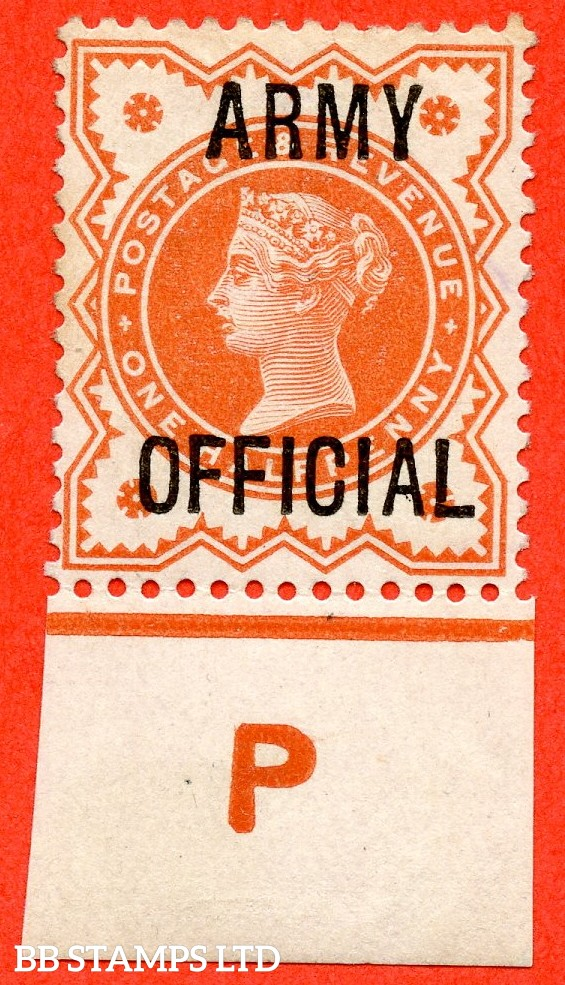"SG. 041. L36. ½d Vermilion. "" ARMY OFFICIAL "". A fine mounted mint control "" P imperf "" example."