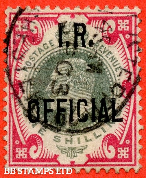 "SG. 024. MO5. 1/- dull green and carmine. I.R.Official. A very fine used example cancelled by a fine "" 1903 MANCHESTER "" cancellation complete with RPS certificate."