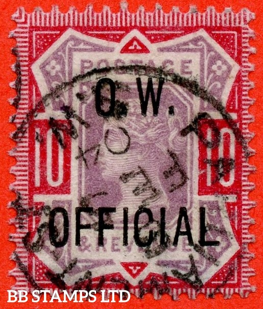 "SG. 035. L35. 10d Dull Purple & Carmine overprinted "" O.W. OFFICIAL "". A very fine "" 5th February 1904 PARLIAMENT STREET "" CDS used example of this scarce stamp. Complete with RPS certificate."