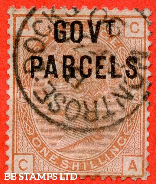 "SG. 064. L21. "" CA "". 1/- Orange - brown. Plate 13. "" Government Parcels "". A super "" 3rd April 1890 MONTROSE DOCKS "" CDS used example."
