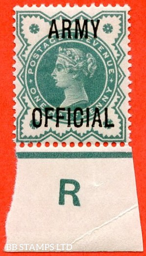 "SG. 042. L37. ½d Blue - green. "" ARMY OFFICIAL "". A superb UNMOUNTED MINT control "" R imperf "" example."