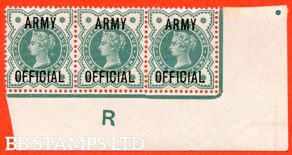 """SG. 042. L37. ½d Blue - green. """" ARMY OFFICIAL """". A superb UNMOUNTED MINT control """" R imperf """" corner marginal strip of 3. A very scarce strip these days."""