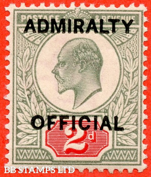 SG. 0104. MO33. 2d Yellowish green & Carmine red. Admiralty Official type 1. A super UNMOUNTED MINT example of this scarce Official. Complete with BPA certificate.