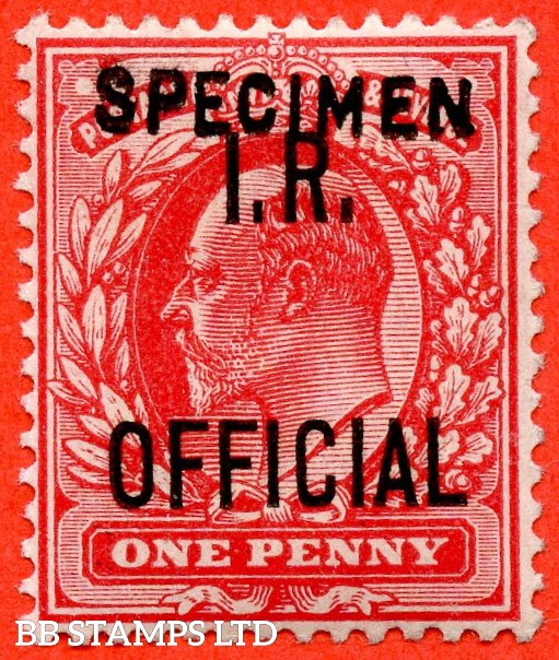 "SG. 021 s. MO2 s. 1d scarlet "" IR Official "". A fine UNMOUNTED MINT example overprinted SPECIMEN type 15."