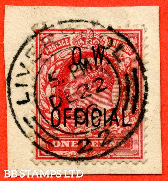 "SG. 037. MO15. 1d scarlet. "" O.W. OFFICIAL "". A very fine "" 22nd December 1903 LIVERPOOL "" CDS used example complete with BPA certificate."