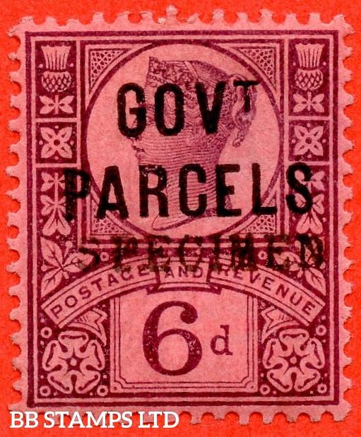 SG. 066 s. L27 s. 6d Purple / Rose Red. GOVT. PARCELS. A fine lightly mounted mint example overprinted SPECIMEN type 9.