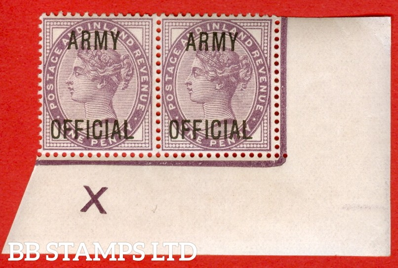 "SG. 043 -- L38. 1d Lilac. "" ARMY OFFICIAL "". A superb UNMOUNTED MINT control "" X "" corner marginal pair, very scarce."