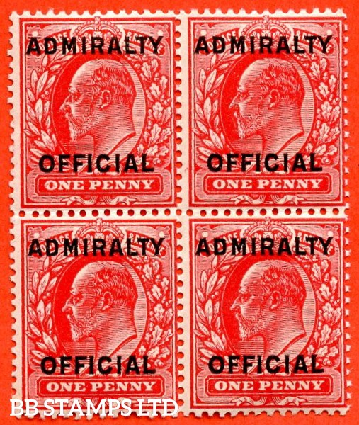 SG. 0108. MO37. 1d scarlet. Admiralty Official Type II. A Very fine UNMOUNTED MINT block of 4.