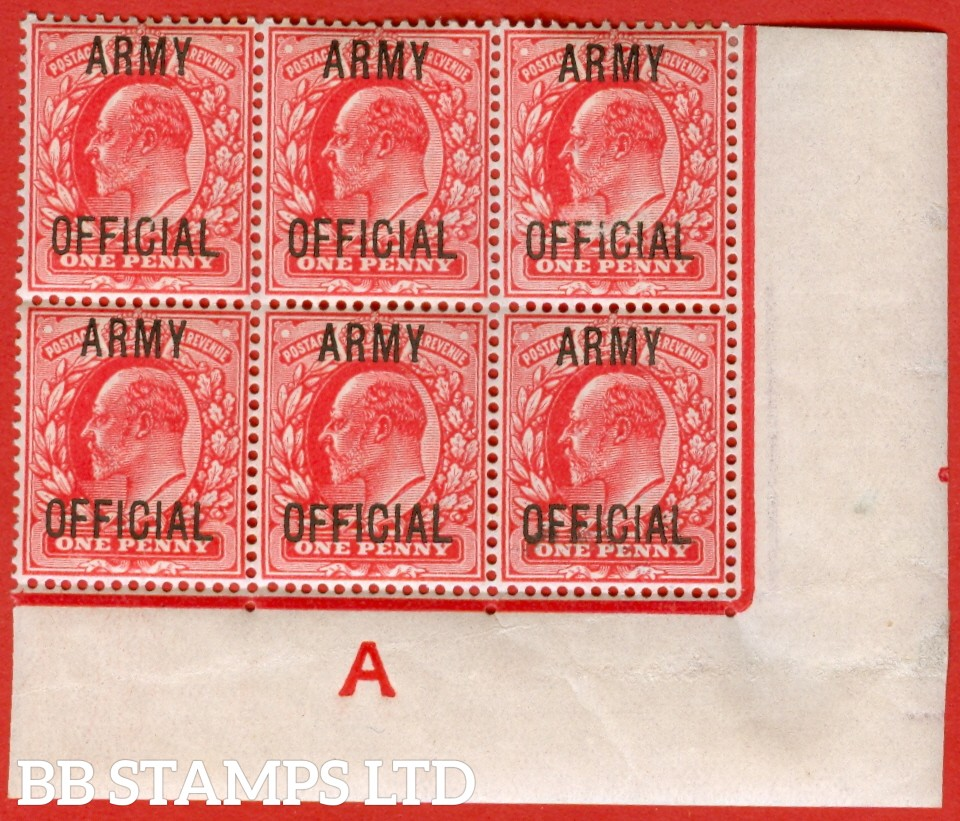 "SG. 049. MO20. 1d scarlet "" Army Official "". A superb mint "" control A imperf, perf type V2A "" block of 6. A very scarce block these days."