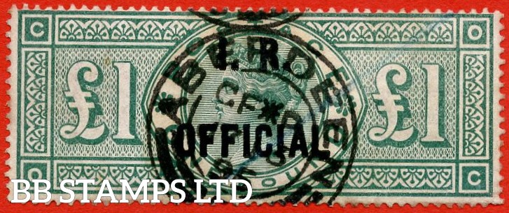 "SG. 016. L11. "" OC "". £1.00 Green. I.R. Official. A very fine used example which is well centred with excellent perfs."