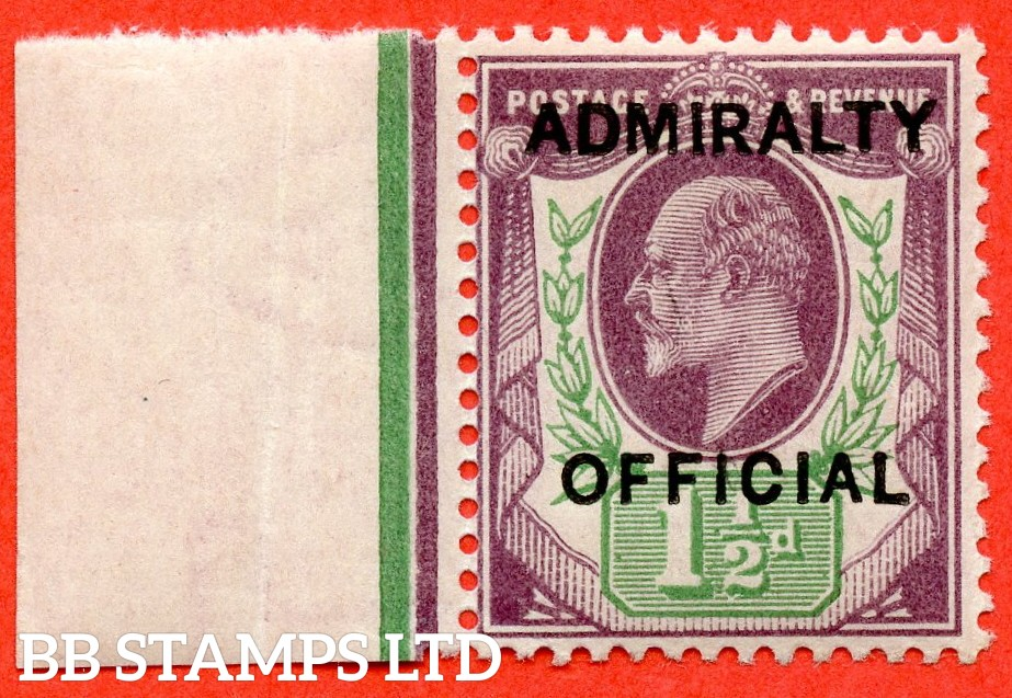 SG. 0103.  MO32. 1½d Dull purple & green. Admiralty Official. Type 1. A superb UNMOUNTED MINT left hand marginal example of this difficult stamp.