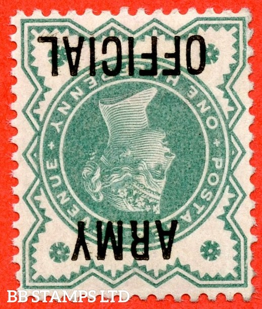 SG. 042 wi. L37 a. ½d Blue - green. INVERTED WATERMARK. ARMY OFFICIAL.  A super UNMOUNTED MINT example of this VERY RARE Victorian Official variety.