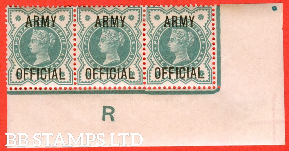 "SG. 042. L37. ½d Blue - green. "" ARMY OFFICIAL "". A superb lightly mounted mint control "" R imperf "" corner marginal strip of 3. A very scarce strip these days."