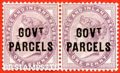 SG. 069. L23. 1d Lilac ( Die II ). Govt. Parcels. A superb UNMOUNTED MINT horizontal pair. A scarce multiple unmounted.