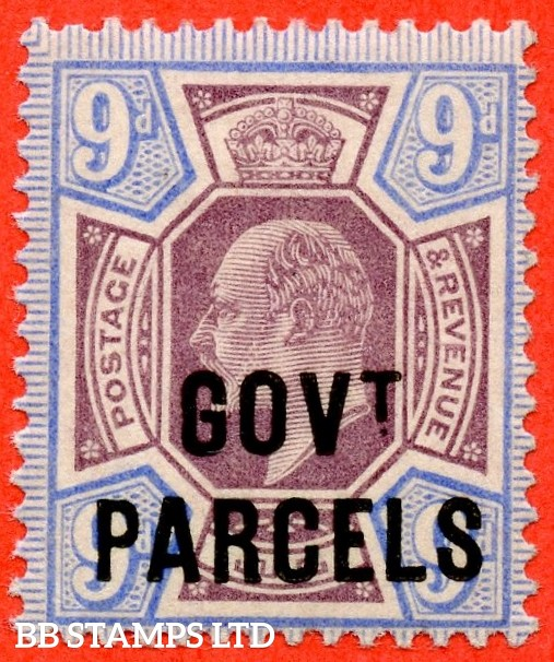 "SG. 077. MO12. 9d dull purple & ultramarine. "" Govt. Parcels "". A superb UNMOUNTED MINT example."