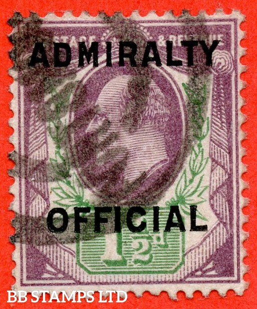 SG. 0109. 1½d Dull purple & green. Admiralty Official Type II. A good used example of this scarce Edwardian Official.