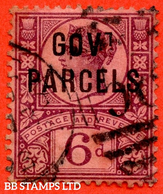 """SG. 066. L27. 6d Purple / Rose Red. GOVT. PARCELS. A fine used example with """" BROKEN ' T ' """" variety."""