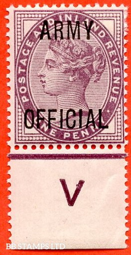 "SG. 043. L38. 1d Lilac. "" ARMY OFFICIAL "". A very fine lightly mounted mint control "" V perf "" single."