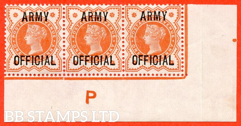 """SG. 041 -- L36. ½d Vermilion. """" ARMY OFFICIAL """". A super lightly mounted mint control """" P """" corner marginal strip of 3, a very scarce strip these days."""