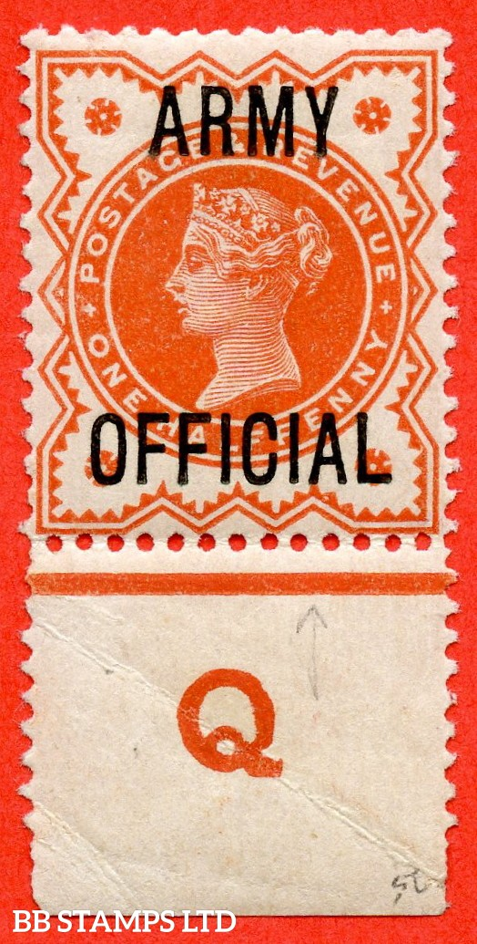 """SG. 041. L36. ½d Vermilion. """" ARMY OFFICIAL """". A fine mounted mint control """" Q perf """" example."""