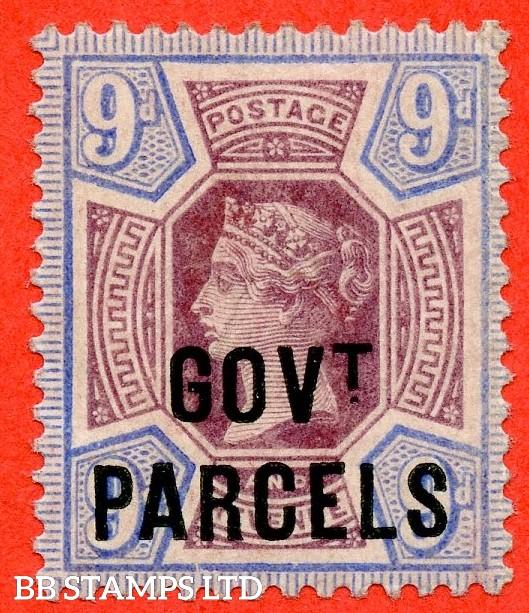 SG. 067. L28. 9d Dull purple & blue. GOVT. PARCELS. A superb UNMOUNTED MINT example with excellent perfs.