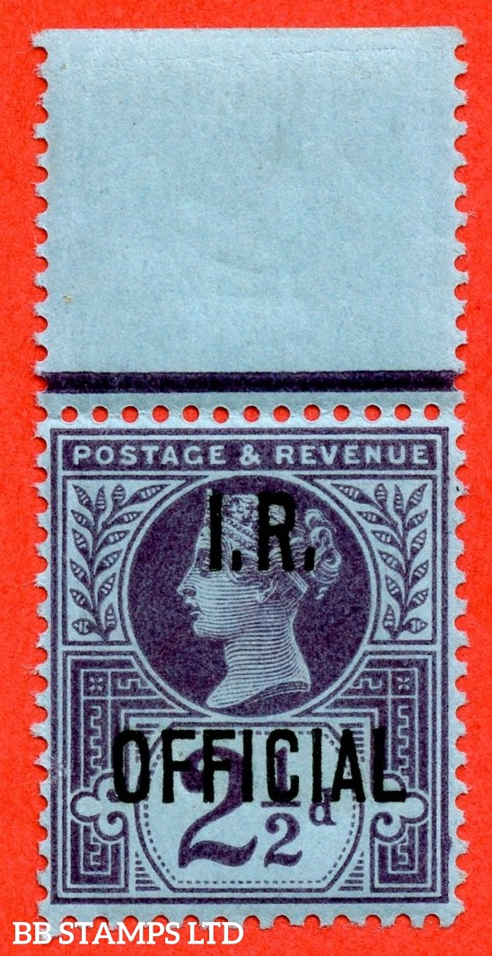 SG. 014. L14. 2½d purple / blue. I.R Official. A super UNMOUNTED MINT top marginal example.